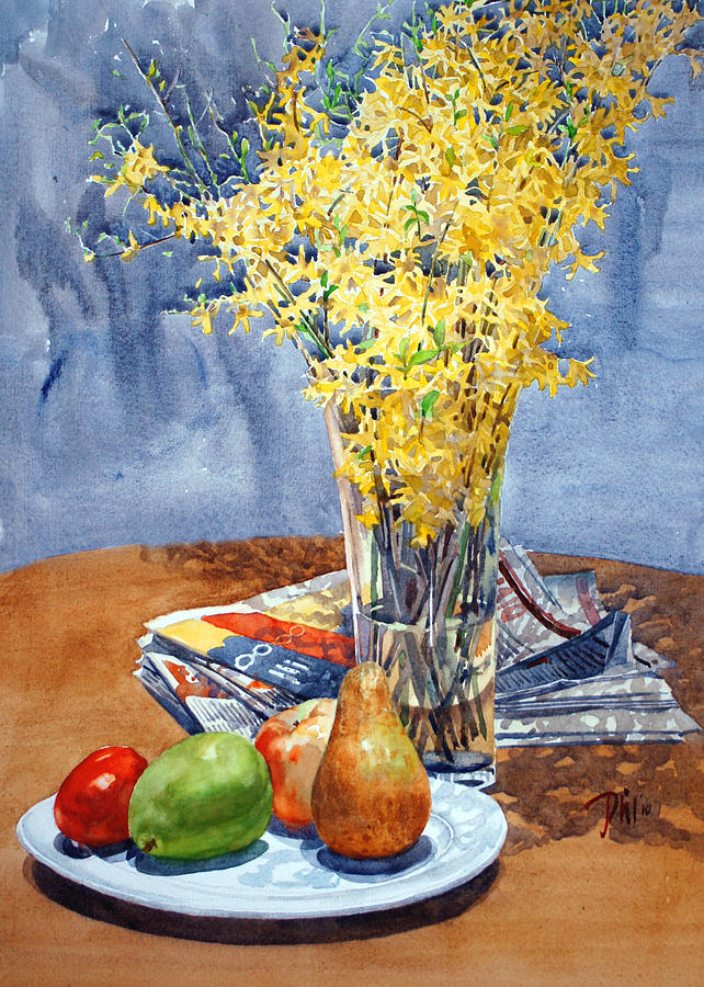 Watercolor Still Life Painting - February Forthysia by Peter Sit