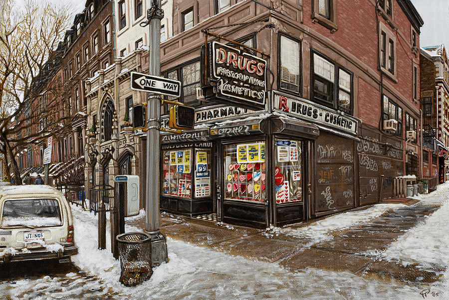 Acrylic Painting - February Pharmacy by Ted Papoulas