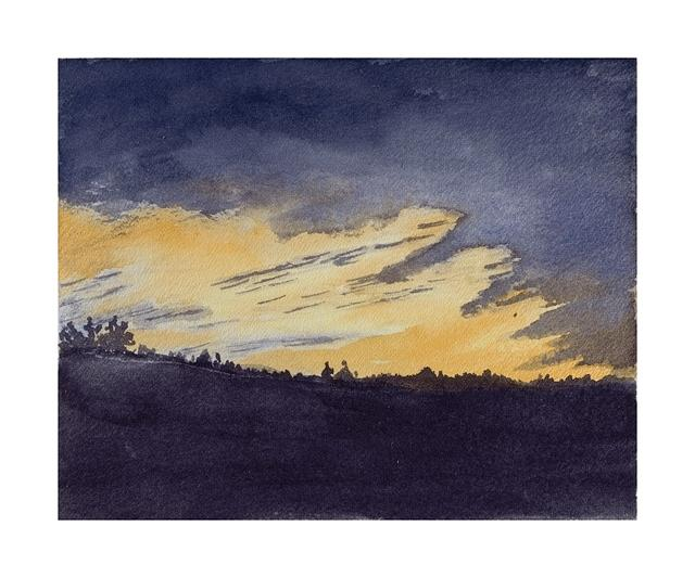 Watercolor Painting - February Sunset by John Hermann