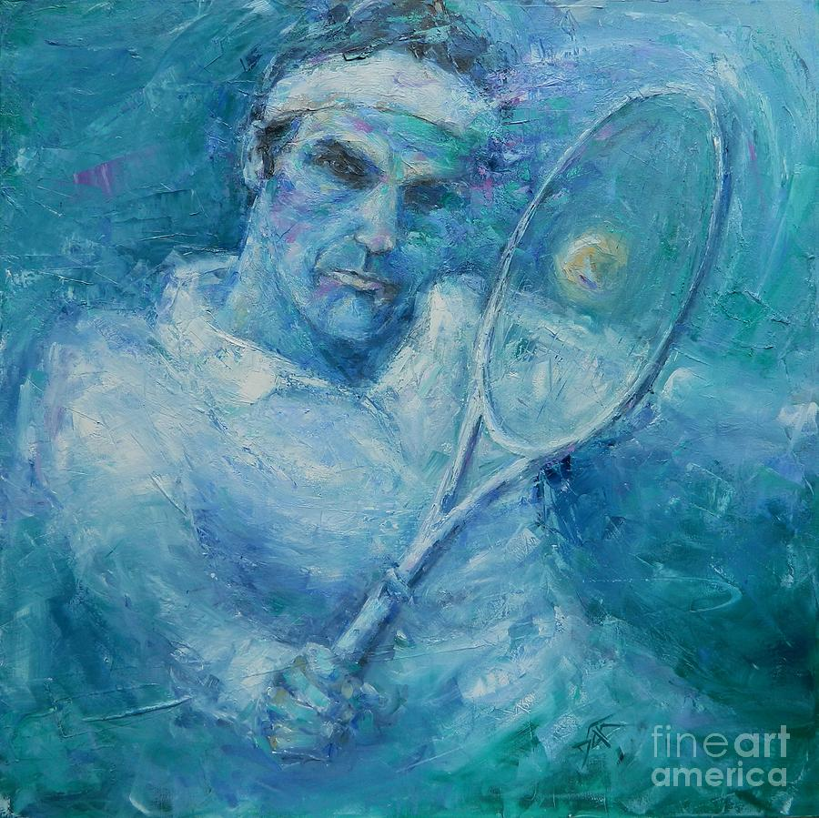 Federer Painting - Fed by Dan Campbell