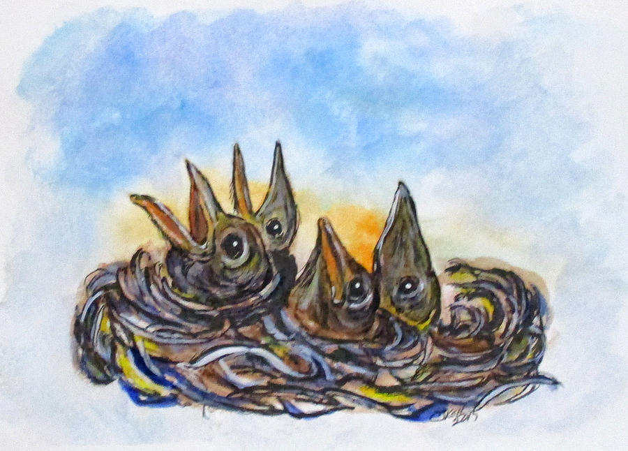 Birds Painting - Feed Me by Clyde J Kell