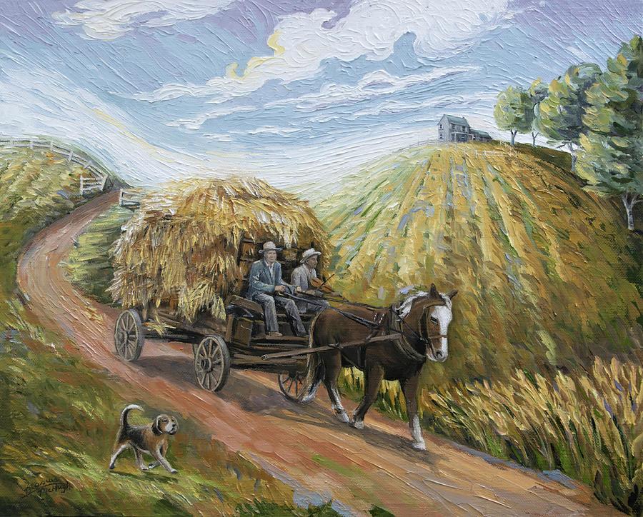 Wagon Painting - Feed My Horse On Corn And Hay by Paula McHugh
