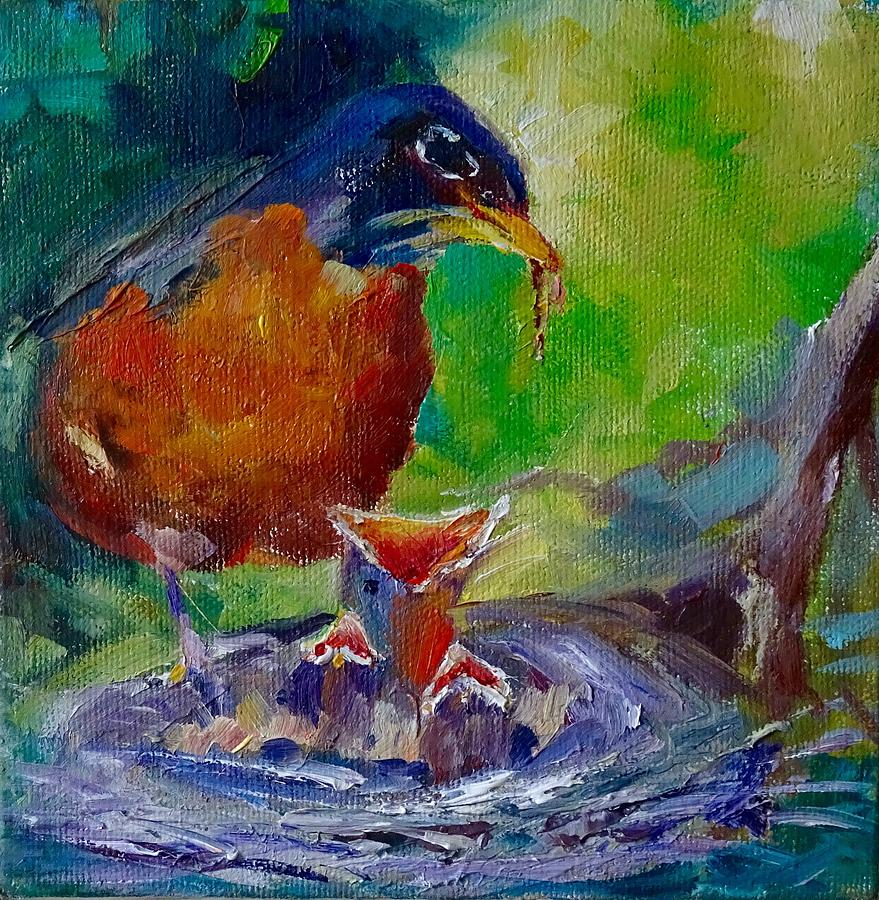 Bird Painting - Feed The Birds by Sarah Jane Conklin
