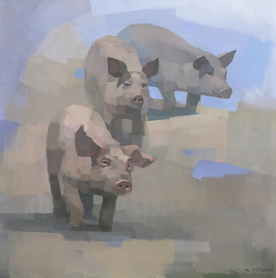 Pigs Painting - Feed Time by Steve Mitchell
