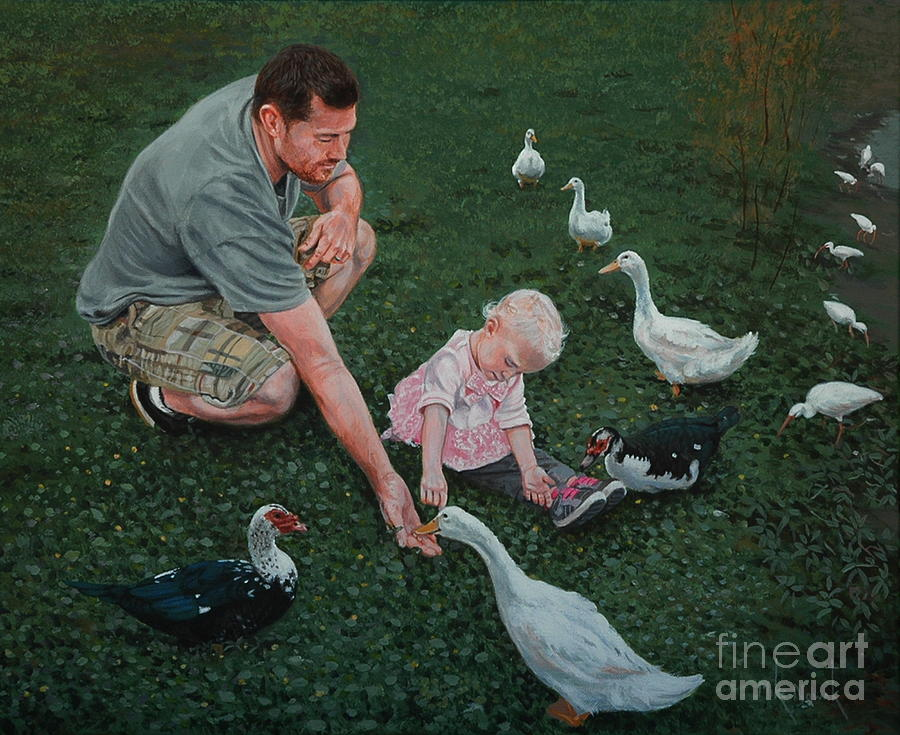 Father Painting - Feeding Ducks With Daddy by Michael Nowak