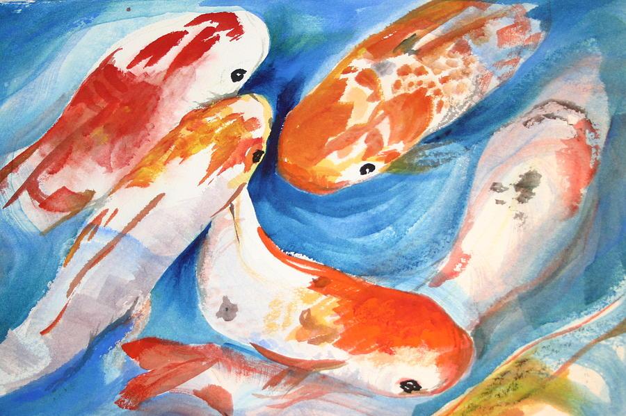 Feeding Frenzy Koi Fish Painting by Ileana Carreno
