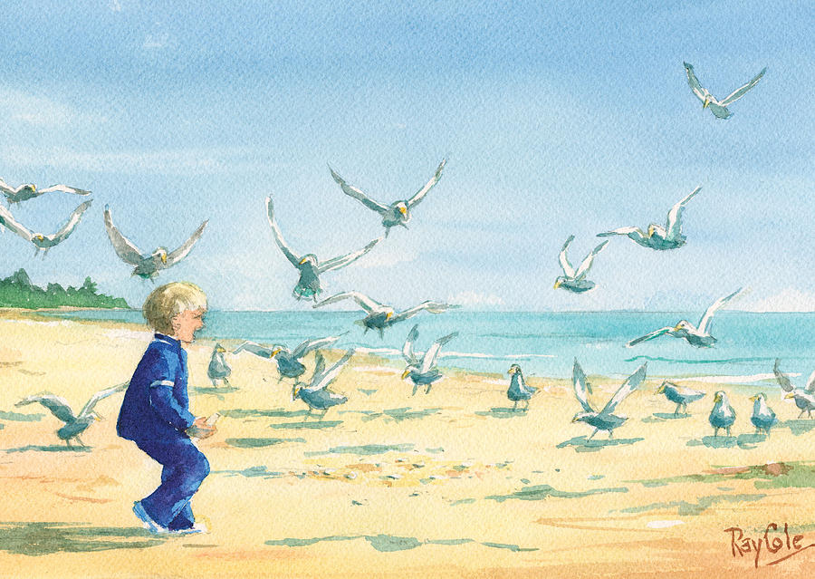 Seagulls Feeding Painting - Feeding Joy by Ray Cole