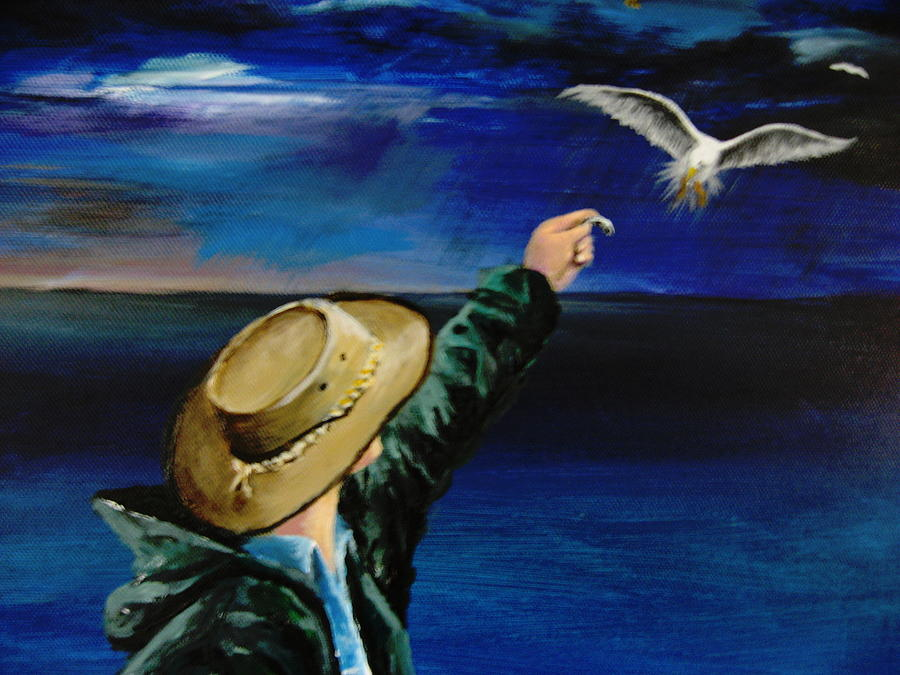 Seagull Painting - Feeding My Gull Friend by Larry Whitler