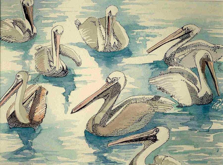 Pelicans Painting - Feeding Pelicans by Rebecca Marona