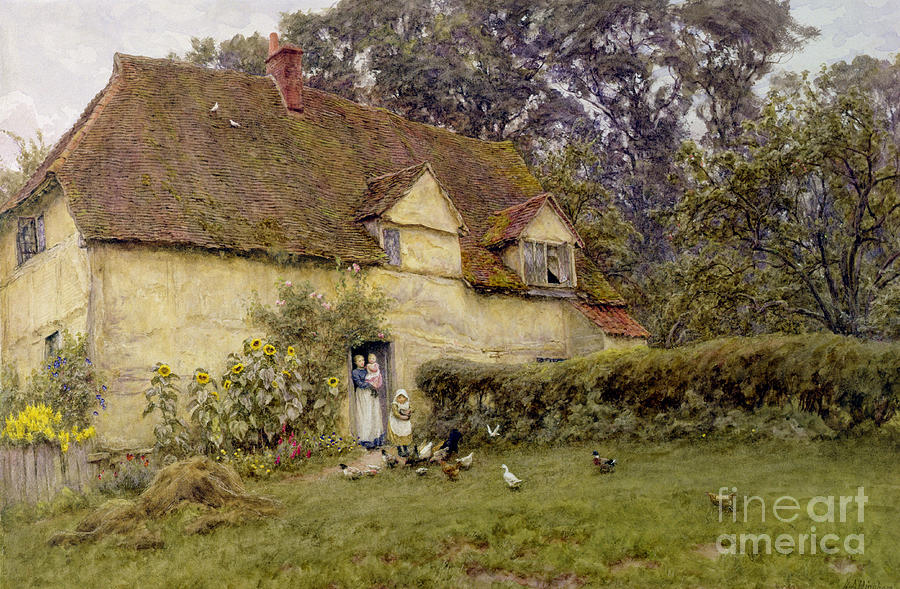 Fowl; Cottage; Victorian; Garden; House; Dormer Window; Sunflower; Child; Rural Painting - Feeding The Fowls by Helen Allingham