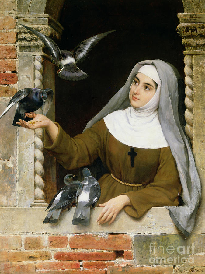 Feeding Painting - Feeding The Pigeons by Eugen von Blaas