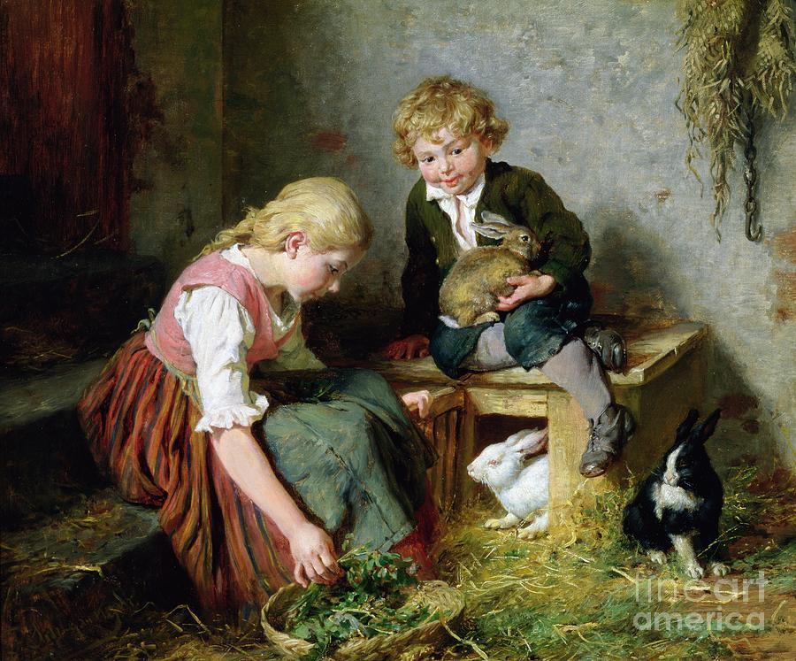 Feeding Painting - Feeding The Rabbits by Felix Schlesinger