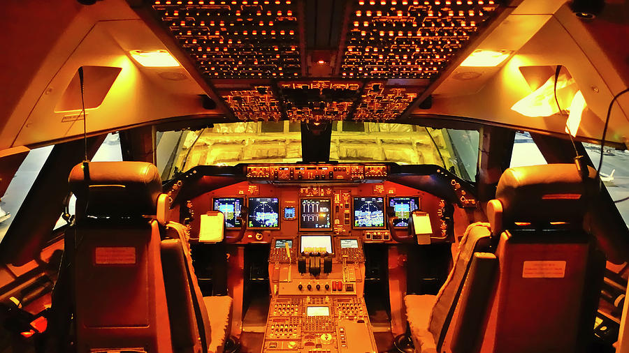 Cockpit Photograph - Boeing 747 Flight Deck by R Van Agt