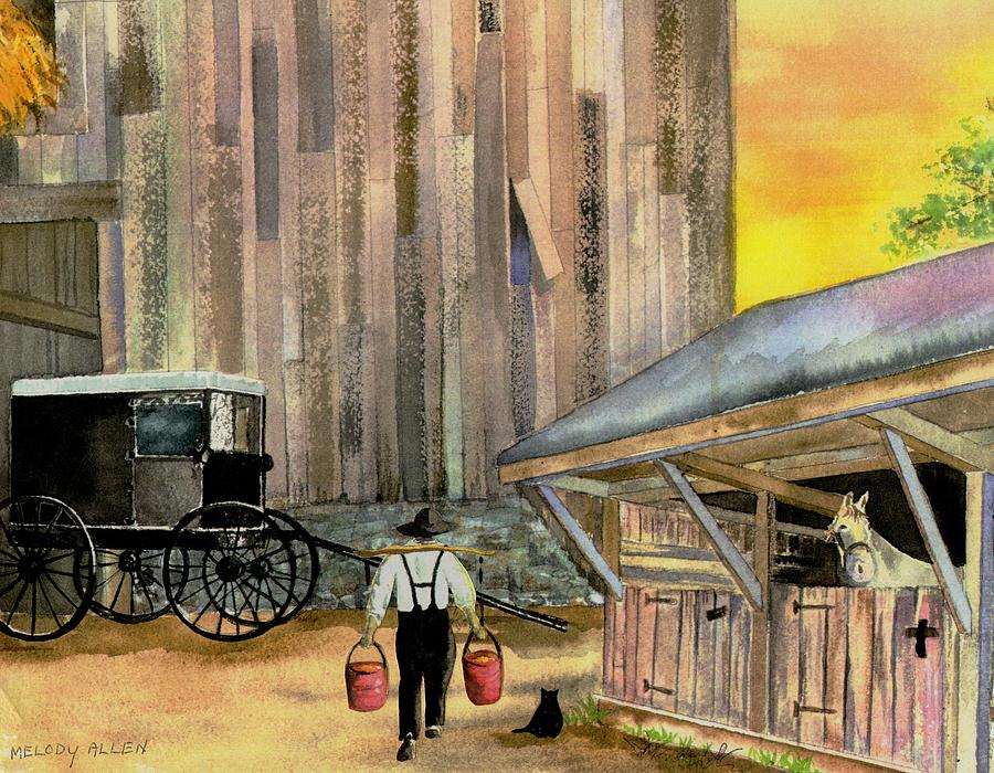 Amish Man Painting - Feeding Time by Melody Allen