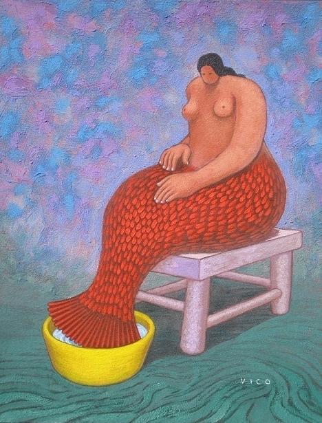 Acrylic Painting - Feet Bath. by Vico Vico