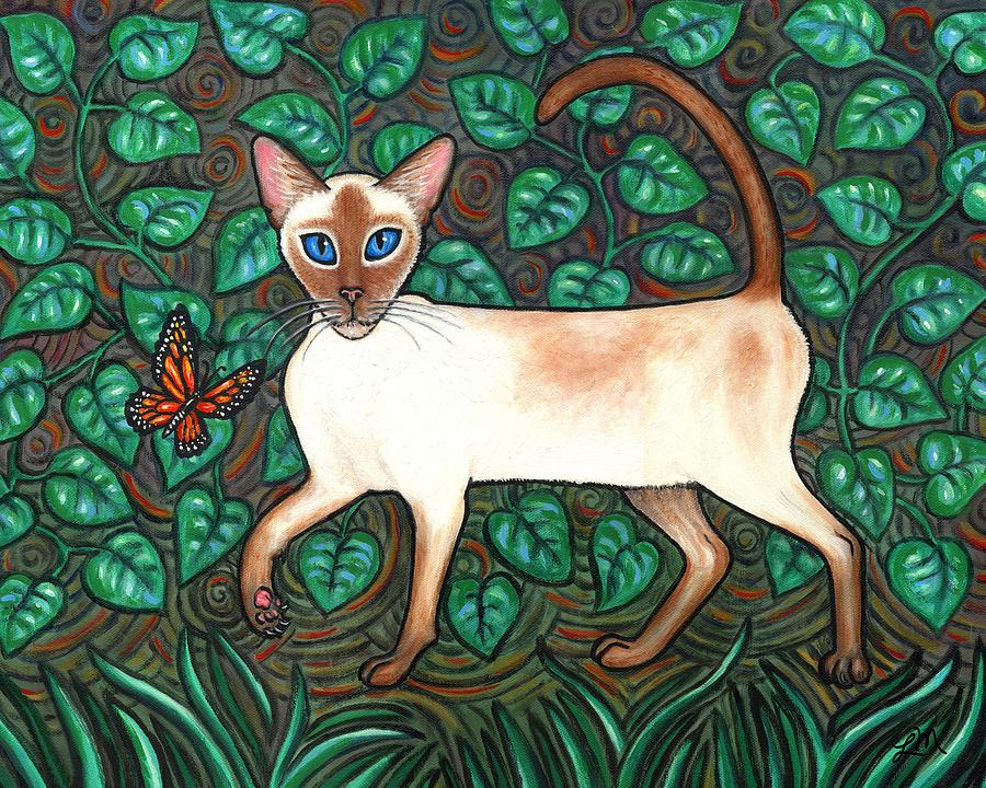 Cat Painting - Felina And The Monarch by Linda Mears