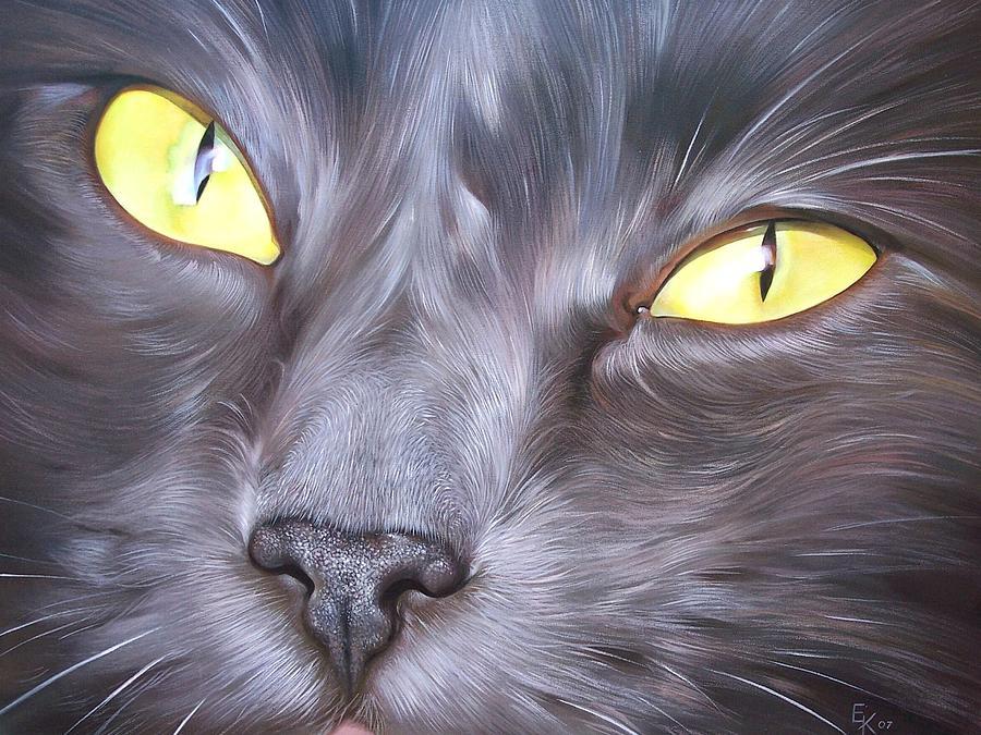 Cat Painting - Feline face 1 by Elena Kolotusha