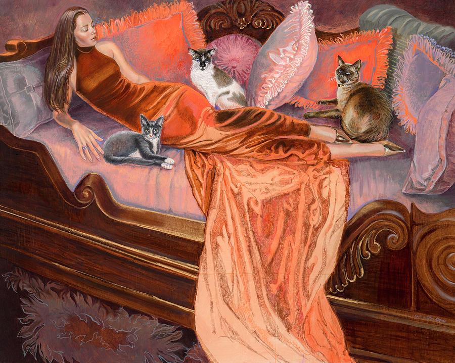 Fashion Illustration Painting - Feline Fashion Harem by Barbara Tyler Ahlfield