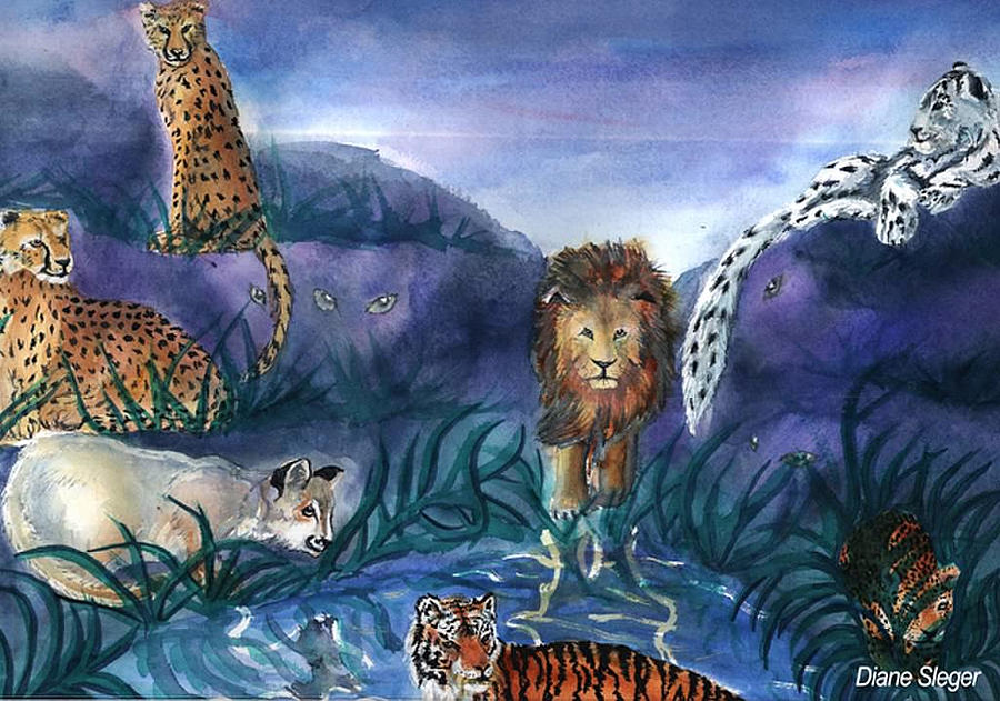 Big Cats Painting - Feline Origins by Diane Sleger