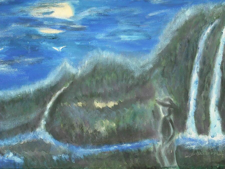 Water Falls Painting - Feline Water Falls by BJ Abrams