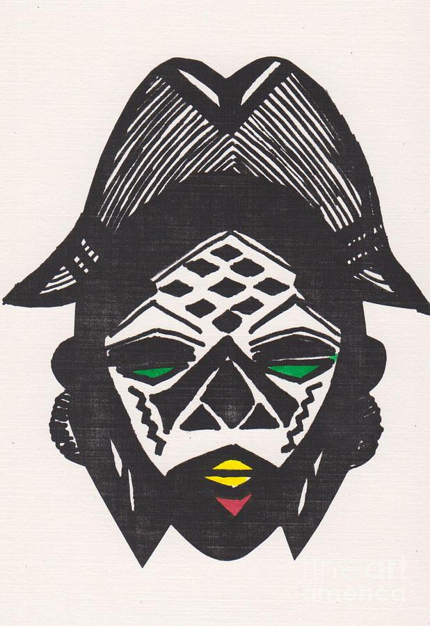 Mask Drawing - Female Ancestral Mask Of The Mpongue Of The Congo by Mia Alexander