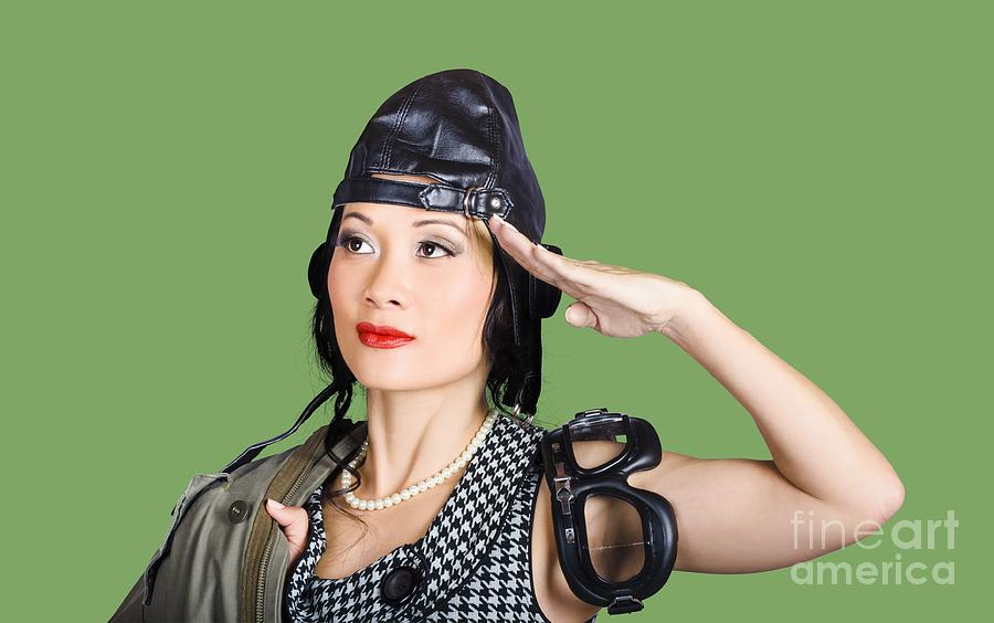 Pilot Photograph - Female Aviation Lady Saluting In Pin-up Class by Jorgo Photography - Wall Art Gallery