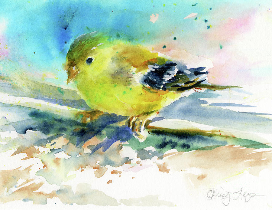 Bird Painting - Female Goldfinch by Christy Lemp