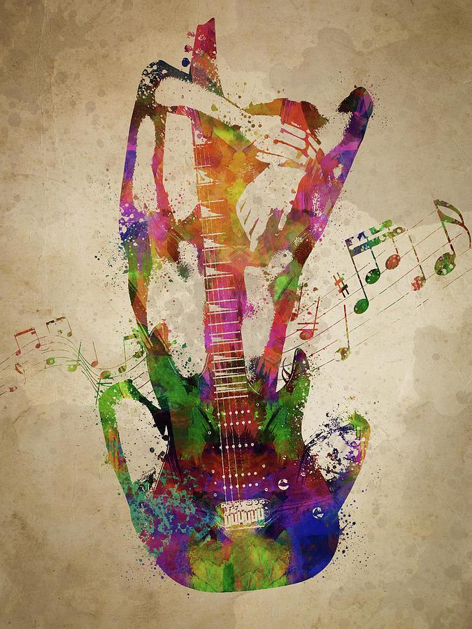 Guitar Digital Art - Female Guitarist by Aged Pixel