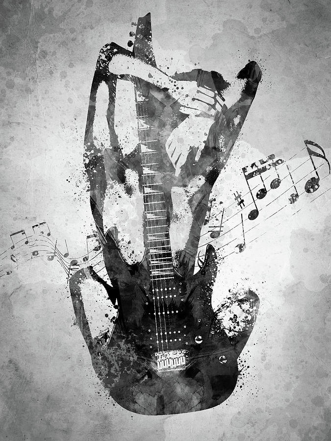 Female Guitarist White And Black Digital Art