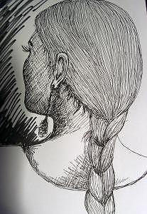 Female Head Drawing by Caroline Lifshey
