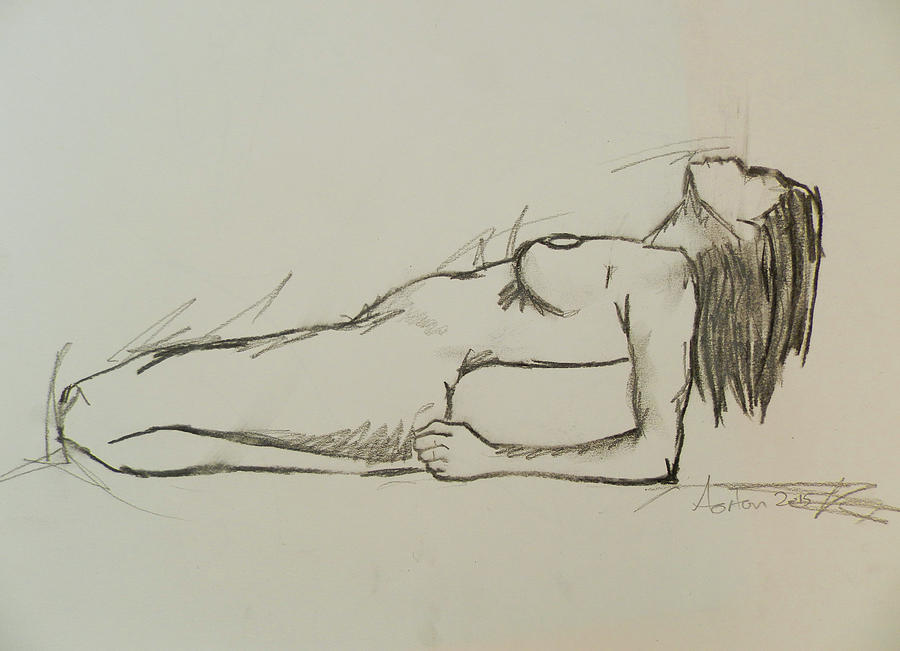 Line Drawing Female : Female nude charcoal figure study drawing by andrew orton