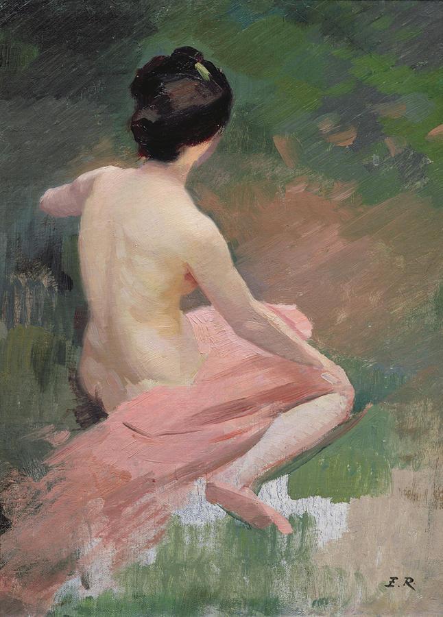 Female; Kneeling; En Plein Air; Al Fresco; Back Painting - Female Nude by Jules Ernest Renoux