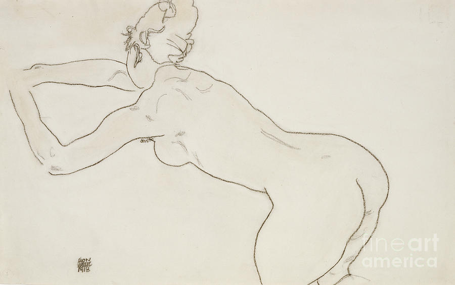 Nude Painting - Female Nude Kneeling And Bending Forward To The Left by Egon Schiele