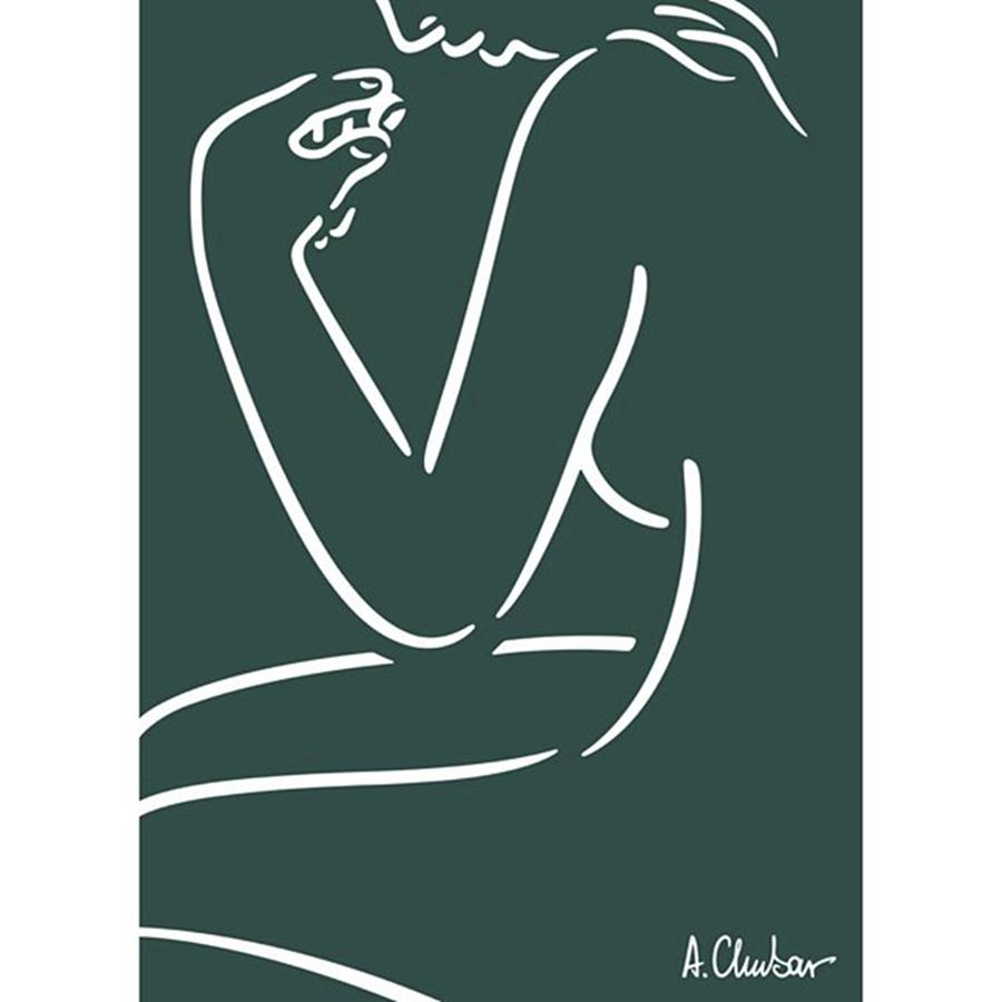 Drawing Photograph - Female Nude Looking At A by Alexander Chubar