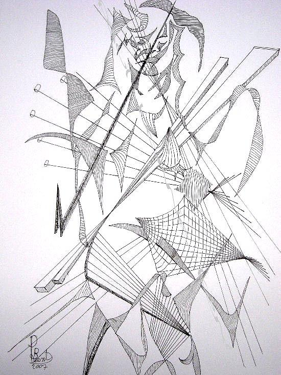 Figurative Drawing - Female Nude Standing by PBKent