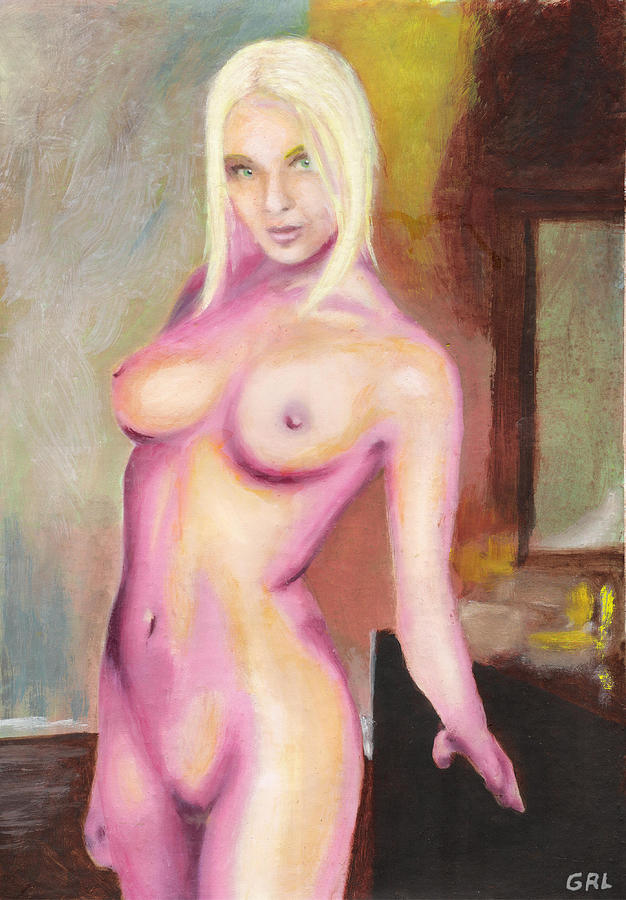 Original Painting - Female Nude Taxha Standing Original Multimedia Acrylic Oil Painting by G Linsenmayer
