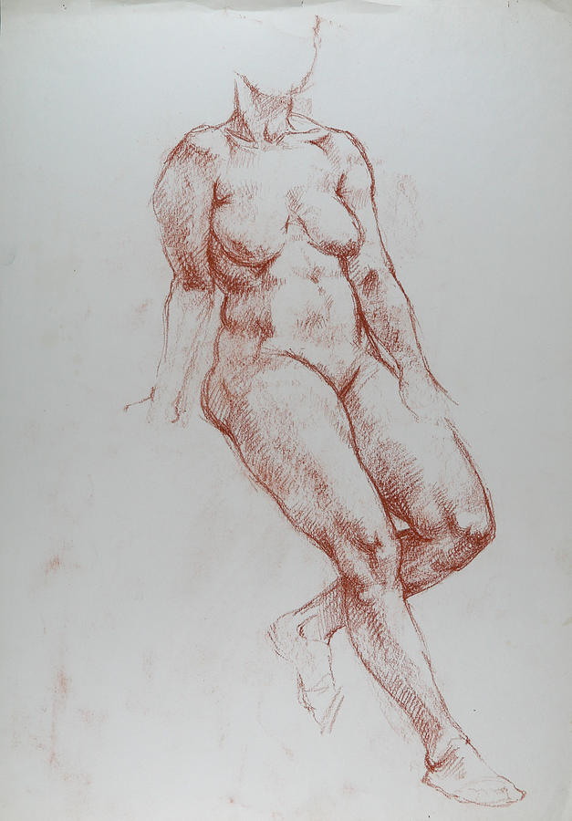 Female, Perched On High Seat, Left Leg Bent Back, Leaning On Right Arm, Student Work. Drawing