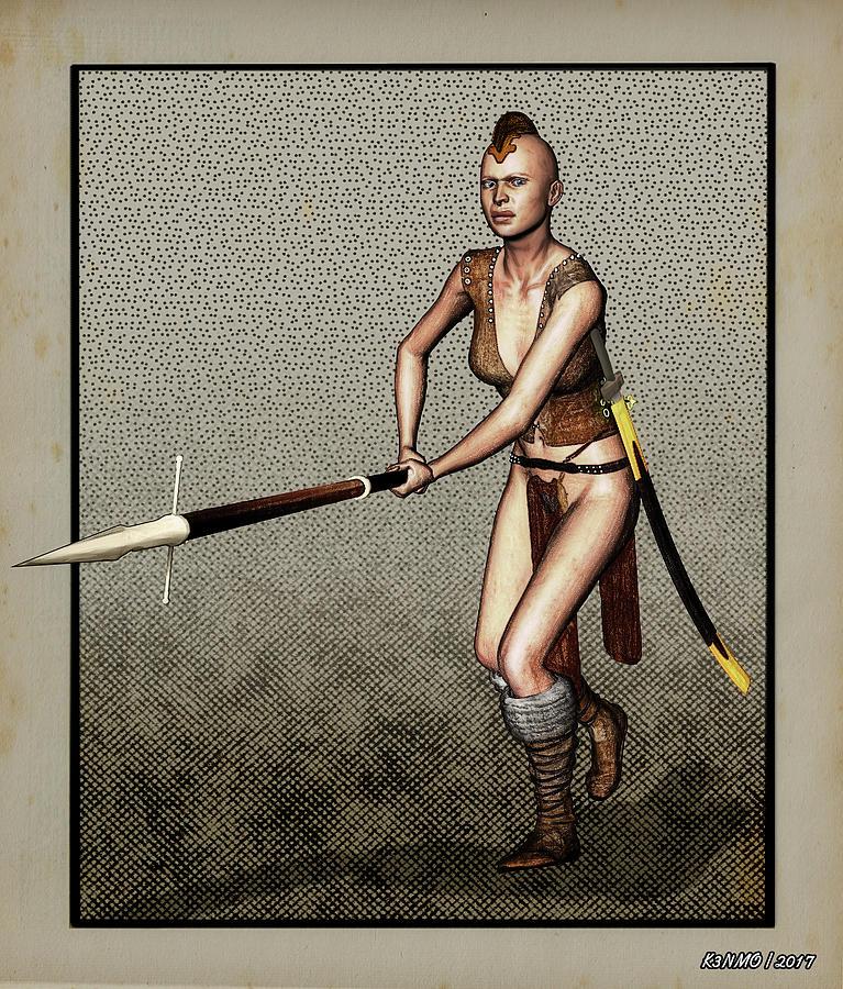Fantasy Digital Art - Female Pike Guard - Warrior by Ken Morris