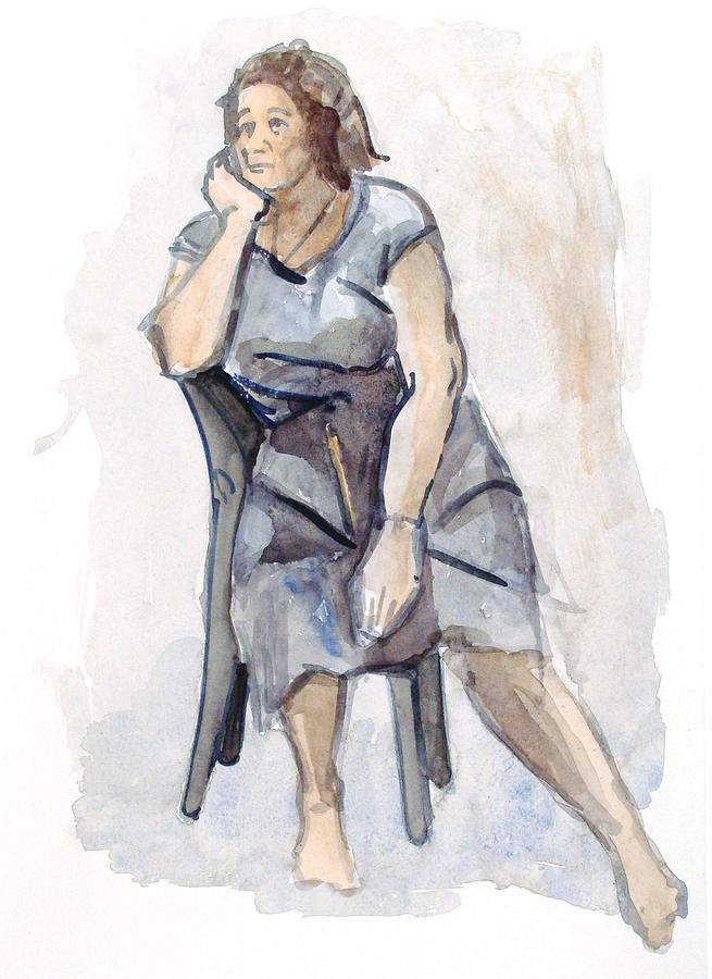Female Seated Painting by Nelson Caramico