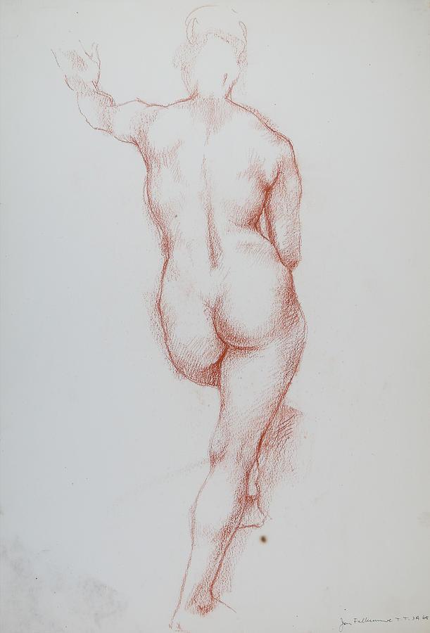 Female Standing On Right Leg, Left Knee, Foot Raised, Left Arm Raised, Student Work. Drawing