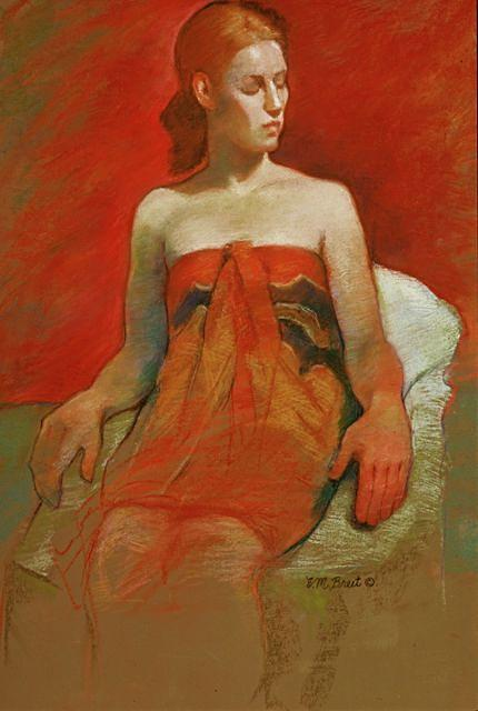 Female Painting - Female With Bare Shoulders by Evelyn  M  Breit