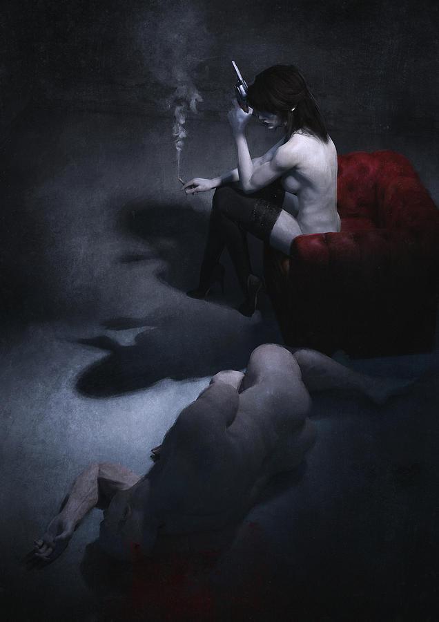 Fantasy Painting - Femme Fatale by Guillem H Pongiluppi