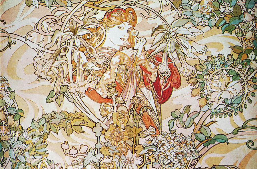 Girl Painting - Femme La Margueritewoman With Daisy by Alphonse Mucha