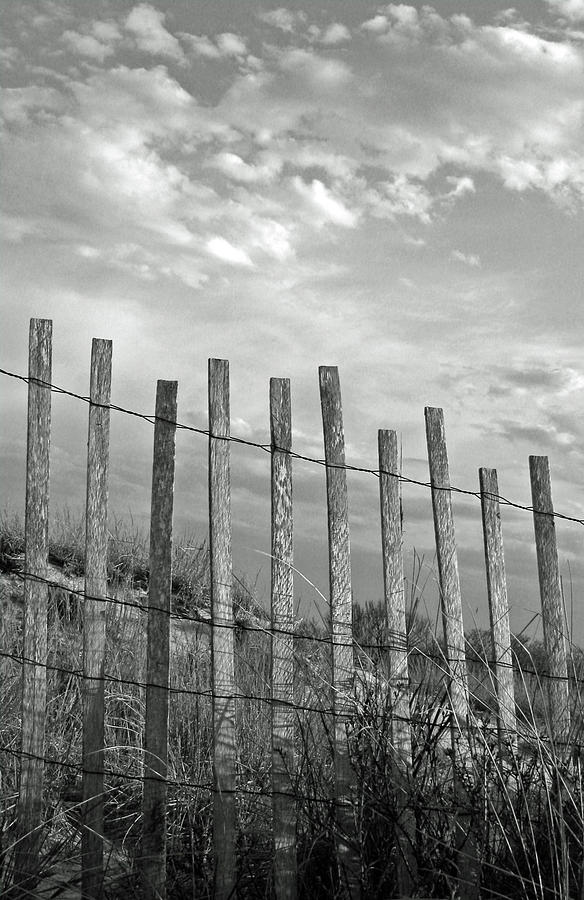 Vertical Photograph - Fence At Jones Beach State Park. New York by Gary Koutsoubis