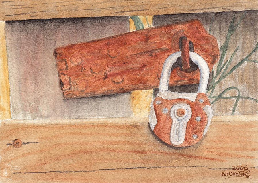 Fence Painting - Fence Lock by Ken Powers