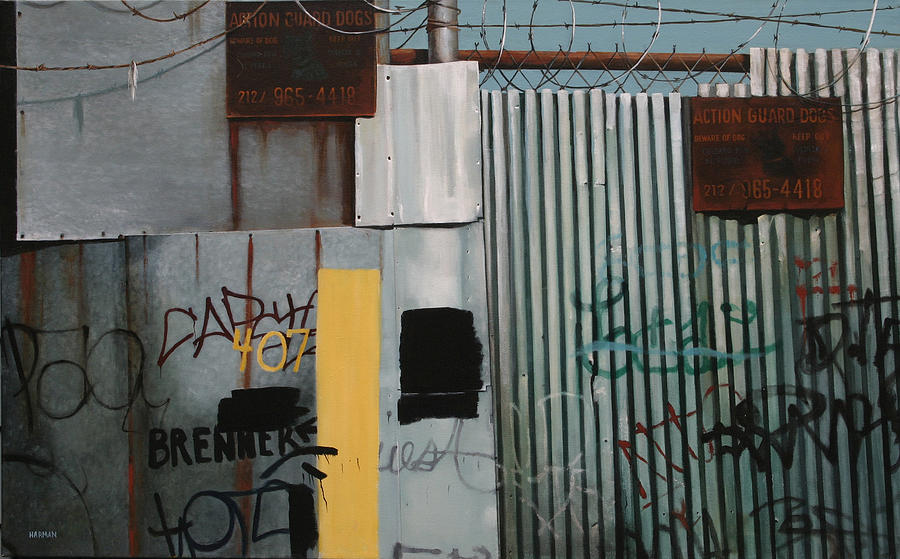 Urban Painting - Fence by Mary Harman