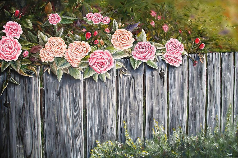 Pink Painting - Fence Of Roses by Lisa Cini