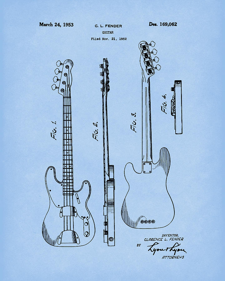 Fender Bass Guitar 1953 Patent Art Blue2 by Prior Art Design