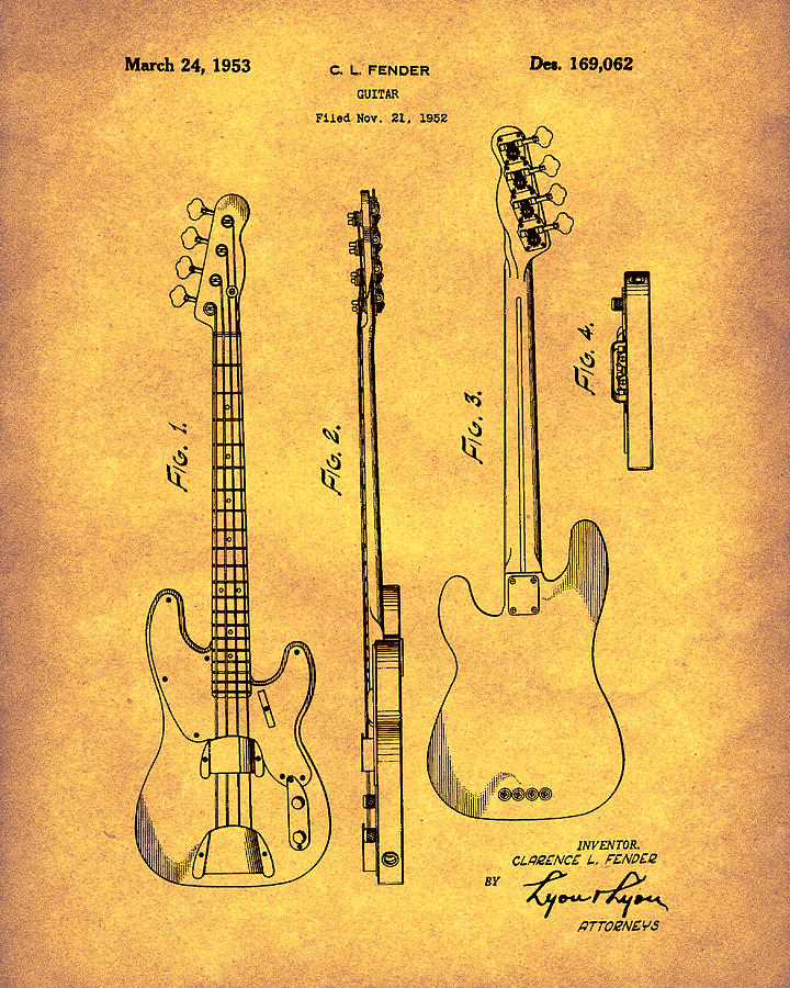 Fender Bass Guitar 1953 Patent Art Gold by Prior Art Design