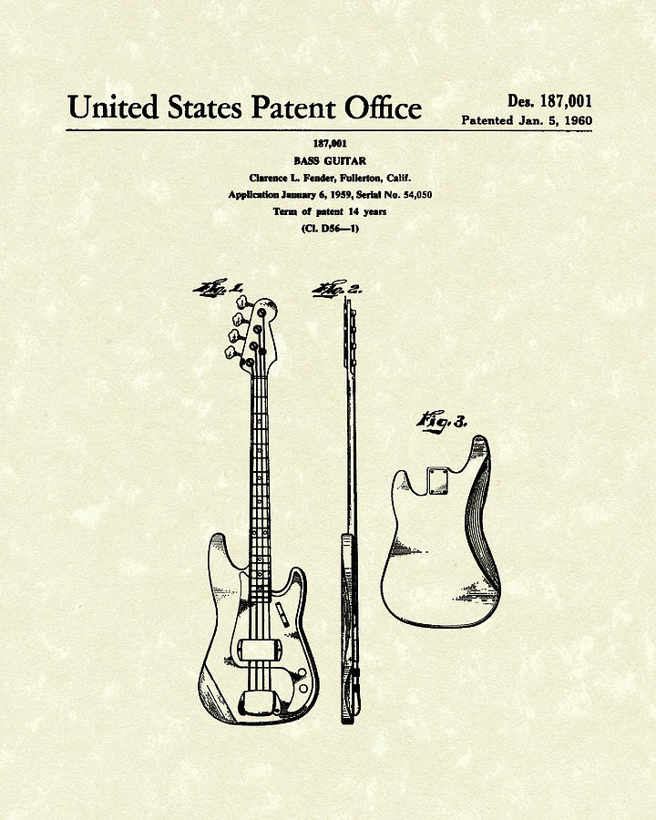 Fender Drawing - Fender Bass Guitar 1960 Patent Art by Prior Art Design